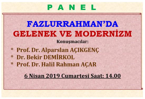 FAZLURRAHMAN'DA GELENEK VE MODERNİZM