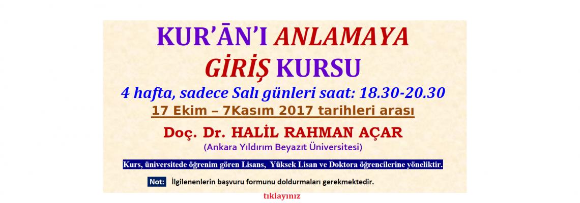 KUR'ĀN'I ANLAMAYA GİRİŞ KURSU